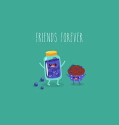 Cartoon breakfast friends forever jam vector
