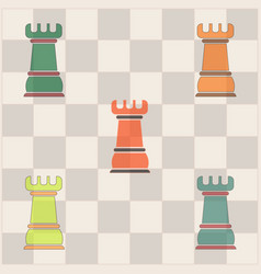 Chess rook set vector