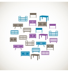 Colorful furniture icons - table vector image vector image