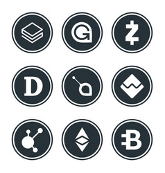 Cryptocurrency or virtual currencies icon set vector