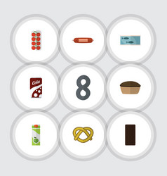 Flat icon eating set of tart packet beverage tin vector