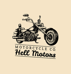 Hell motors advertising poster hand drawn vector