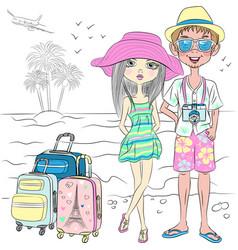Hipster traveler couple on the sea beach vector