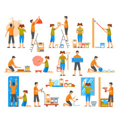 home renovation flat color decorative icons vector image vector image