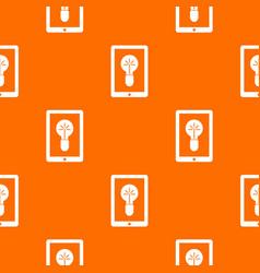 Idea lamp on gadget screen pattern seamless vector
