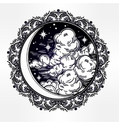 Intricate hand drawn crescent moon vector image vector image