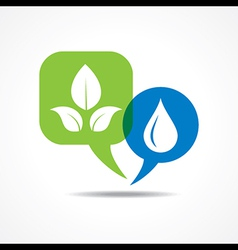 Leafs and waterdrop in message bubble vector image