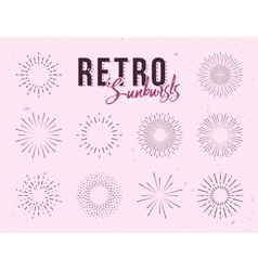 Set of vintage linear sunbursts Hand-drawn vector image