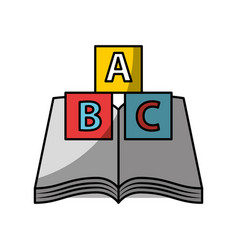 Text book school with blocks alphabet vector
