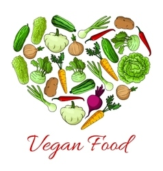 Vegan food heart poster of vegetables vector image vector image