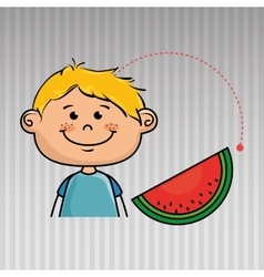 Boy vegetable food health vector