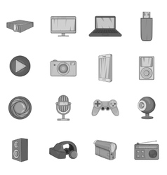 Audio and video icons set black monochrome style vector