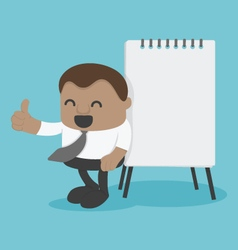 Concept Young African businessman with flip chart vector image