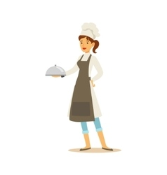 Woman Professional Cooking Chef Working In vector image