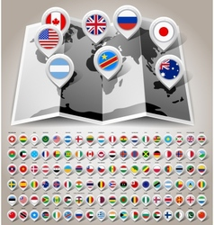 Map world with flags vector image