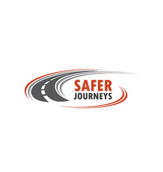 Road icon for safety journey vector
