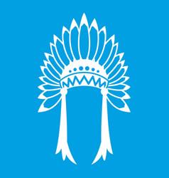 Indian headdress icon white vector