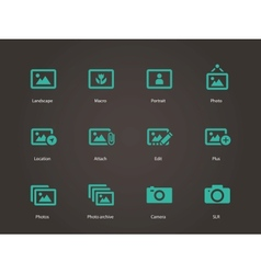 Photographs and camera icons vector