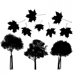 Tree and maple leaves silhouettes vector