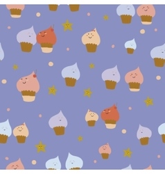 Cute funny seamless pattern with sweet cupcakes vector