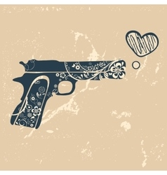Love gun vintage emblem with gun shooting with vector
