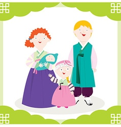 Family hanbok vector