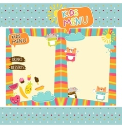 Colorful kids meal menu template vector