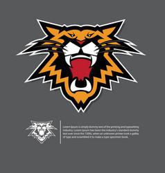 Angry tiger face logo in flat design vector