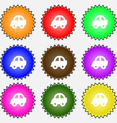 Auto icon sign A set of nine different colored vector image