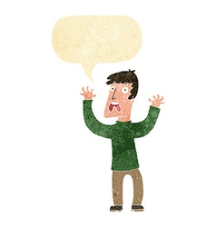 cartoon frightened man with speech bubble vector image vector image