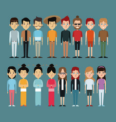 Character people oriental and caucasian vector