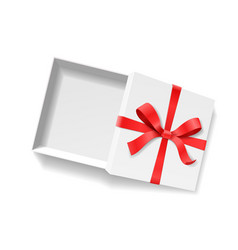empty open gift box with red color bow knot and vector image