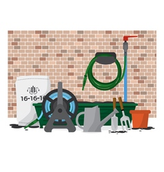 Garden Equipment In Front Of Brick Wall vector image vector image