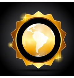 Golden Label with Globe Map vector image vector image