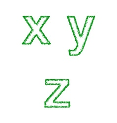 Green grass font set - lowercase letters x y z vector