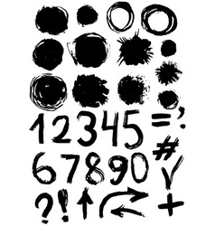 grunge set of paint stains and numbers grungy vector image