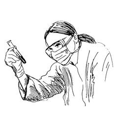 Hand sketch scientist vector