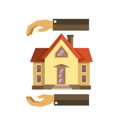 Hands over and under the house vector