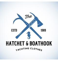 Hatchet and boathook yachting clothes manufacture vector