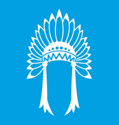 Indian headdress icon white vector