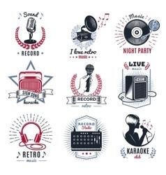 Karaoke Vintage Logos Set vector image