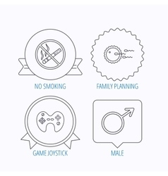 No smoking family planning and game joystick vector image vector image