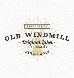 Old Windmill Vintage Retro Design Elements for vector image vector image
