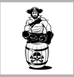 pirate sitting on a barrel vector image vector image