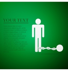 Prisoner with ball on chain flat icon over green vector
