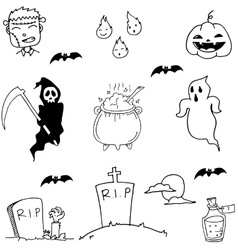 Scary Halloween doodle vector image vector image