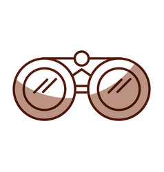 shadow brown binoculars cartoon vector image