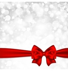 Shiny silver starry christmas background with red vector image vector image