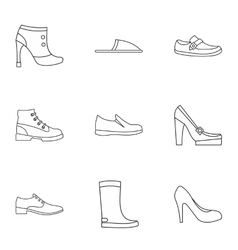 Shoes icons set outline style vector image