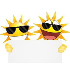 Smiling sun Emoticon holding a Blank sign vector image vector image